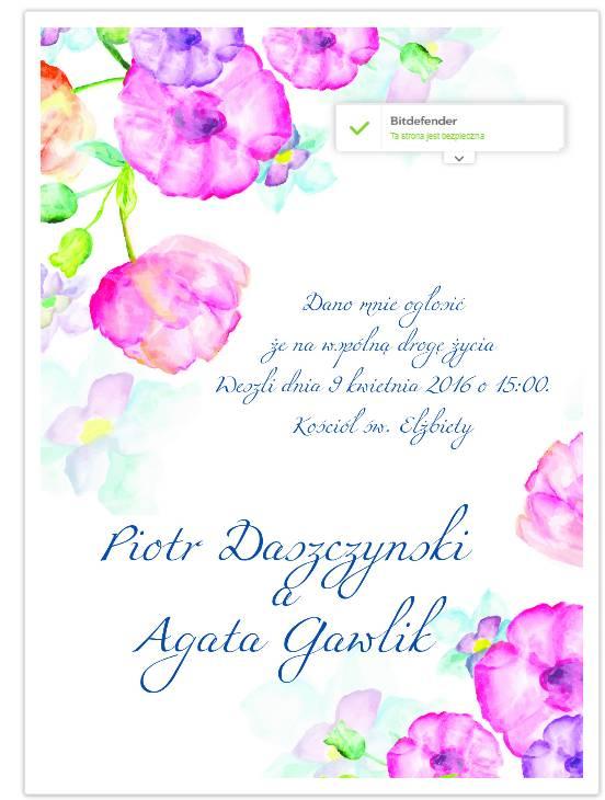 Ładne zaproszenia ślubne